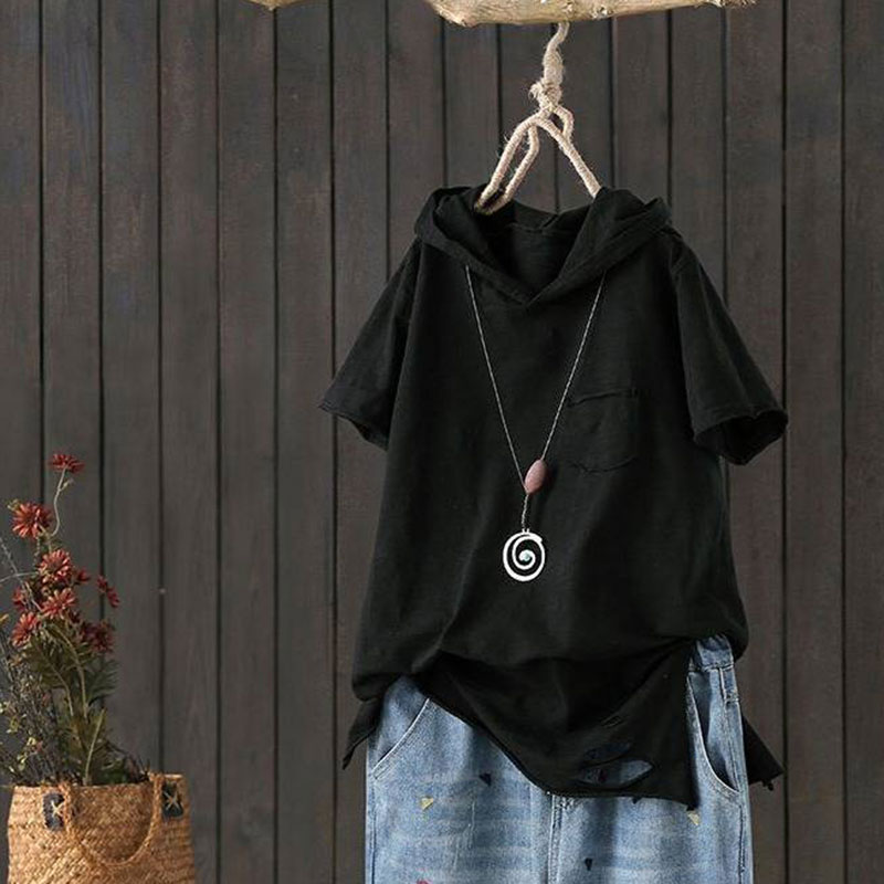 F&je New Fashion Summer Women T Shirt Plus Size Short Sleeve Loose Casual Hooded Tee Shirt Hole Cotton Femme Print Tops D32 2