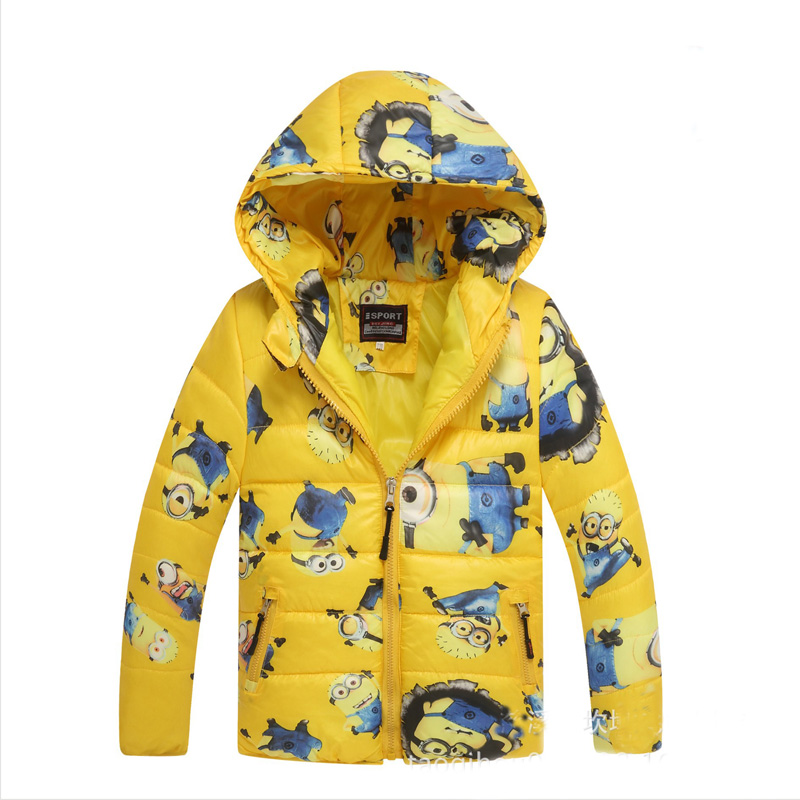 Hot Sale Boys Minions Down Jackets Winter/Autumn Jacket for Boys Hooded Outerwear Kids Winter Warm Cotton Coat Winter Boy Parkas casual 2016 winter jacket for boys warm jackets coats outerwears thick hooded down cotton jackets for children boy winter parkas