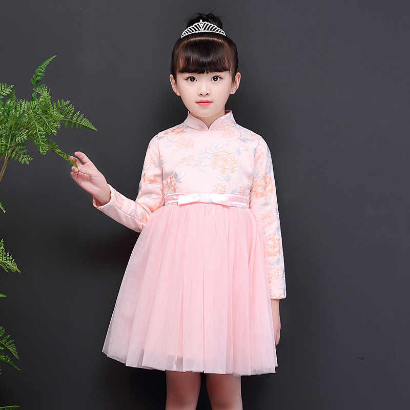 9072af580359a Chinese Red Pink Vintage Dress New Year Christmas Party Wedding Dresses  Fleece Tulle Dress Size110-160 Girl Casual Clothings