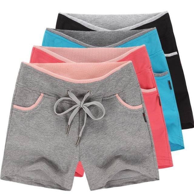women  summer  plus size loose causal workout shorts women knitted  cotton shorts