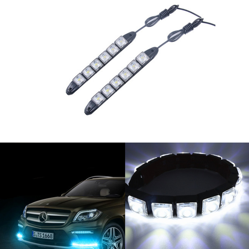 2X 6 LEDs Car Auto Decorative Flexible LED Strip 12V Car LED Daytime Running Light For Honda/Toyota/Hyundai/VW/Kia For Mazda flexible 3w 132lm 6 smd 5050 led white car decorative daytime running light 12v 2 pcs