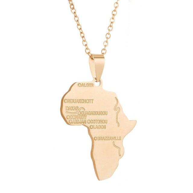 a650d55c63fa Hiphop Africa collar oro Color colgante y cadena mapa regalo para  hombres mujeres Etiopía joyería