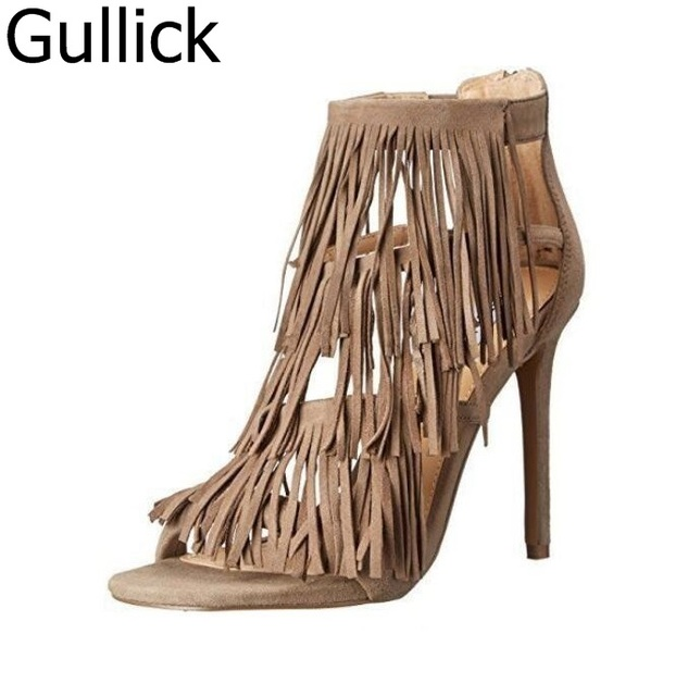 d46a00939e Summer Fashion Ladies Royal Blue Suede Strappy Tassel Sandals Stiletto Heel  Open Toe Fringe Dress Shoes Pink Yellow Gray