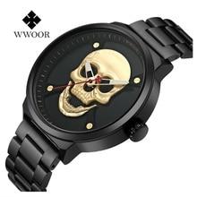WWOOR Watches Men Waterproof Stainless Steel Watch Male Clock Water Resistant Skull Men Quartz Wristwatch 2019 Relogio Masculino стоимость