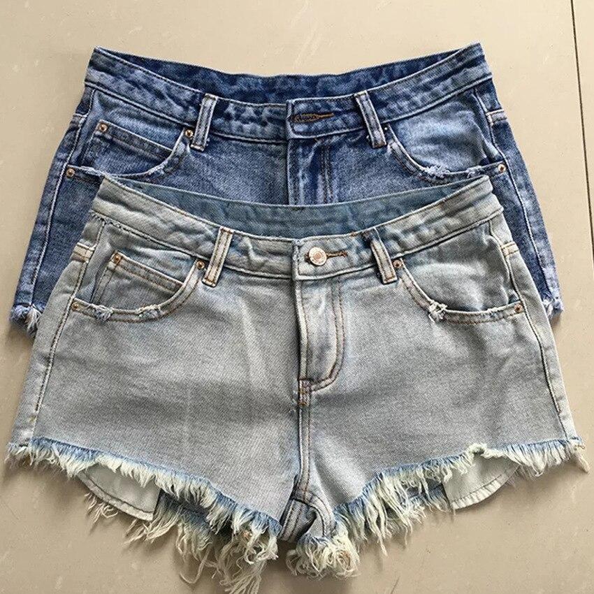 summer new street fashion burr hole washing jeans short female new arrival denim short pants