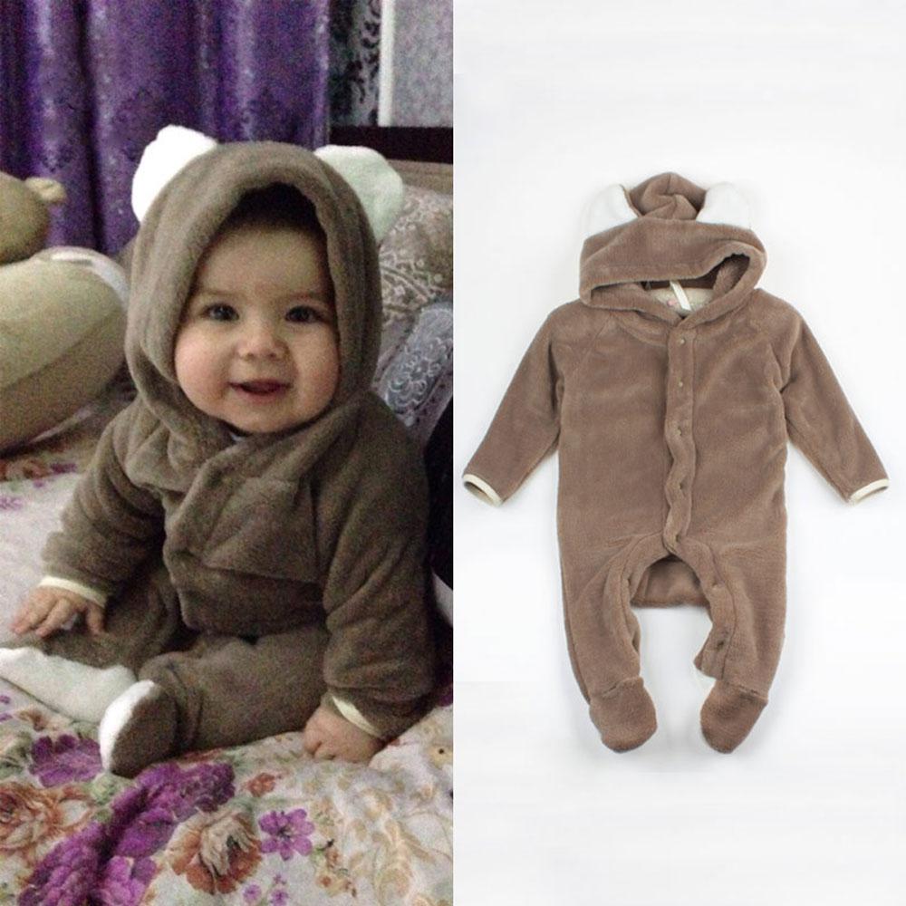 Cartoon Fleece Newborn Baby Clothes Animal Overall Menina Baby Costume Warm Longsleeve Baby Rompers Retail Baby Boy Romper