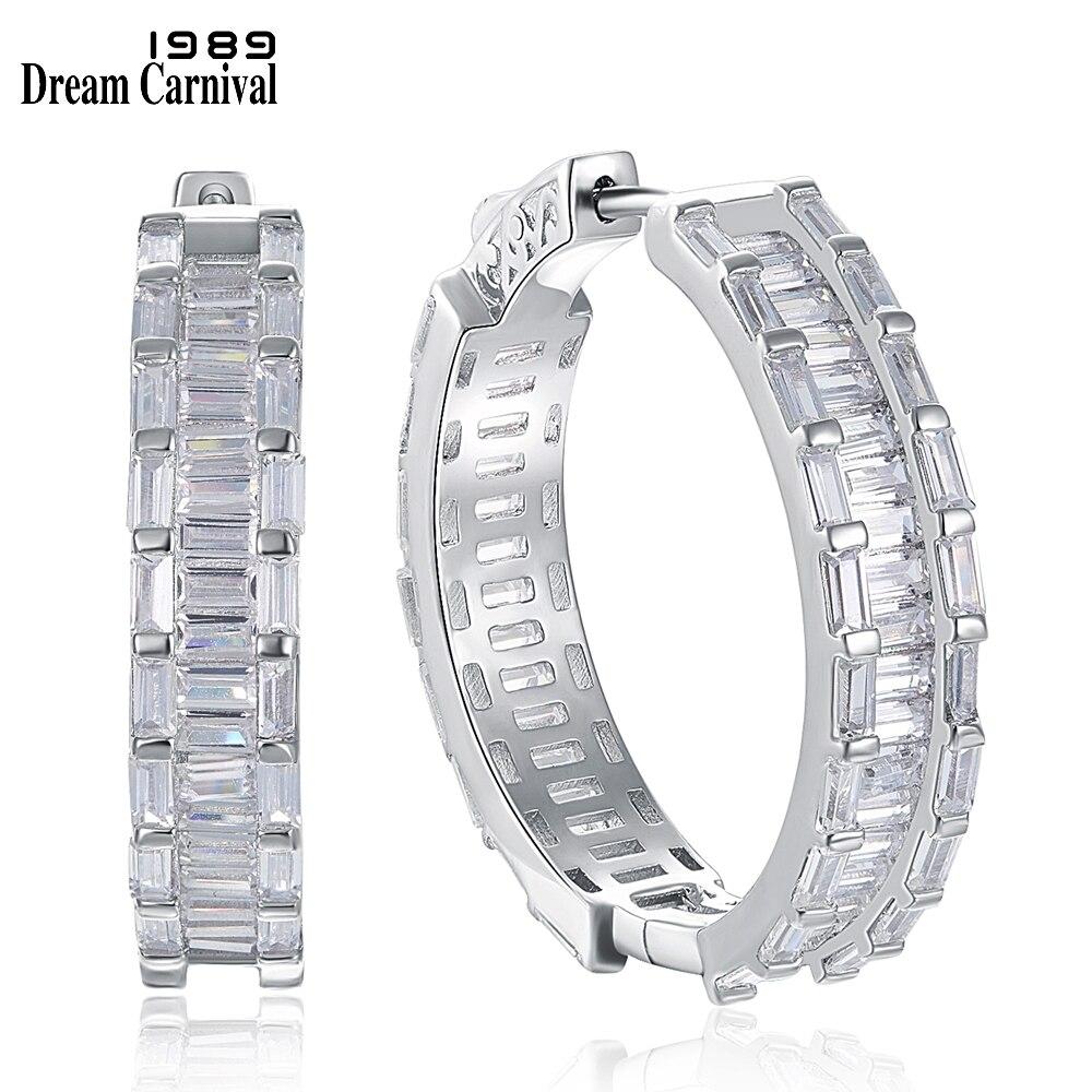 DreamCarnival1989 New 28mm 925 Sterling Silver Hoop Earings for Women Square Cut Sparkling Zircon Wedding Style Jewelry SE20029R
