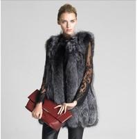 LIYAFUR Women S 100 Real Genuine Full Pelt Silver Fox Fur Long Vest Waistcoat Gilet Vertical