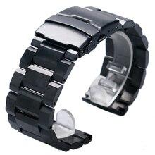 Correa de reloj de Metal para hombre, pulsera de reloj de acero inoxidable de 18mm, 20mm, 22mm y 24mm, 2 barras de resorte