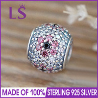LS High Quality Real 925 Silver Shimmering Cherry Blossom Charm Beads Fit Original Bracelets Pulseira Encantos