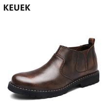 Новое поступление; мужские ботинки; сезон весна-осень; ботильоны челси из натуральной кожи без застежки; кожаные ботинки в британском стиле; 02A