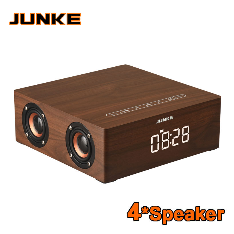 Clock Stereo Wooden Bluetooth Portable HiFi Speakers TF Play Hand Free Call AUX Input Super Bass Loudspeaker Computer Column 2500mah 2 1stereo wooden subwoofer bluetooth speaker fm radio portable speakers mp3 play super bass loudspeaker computer column