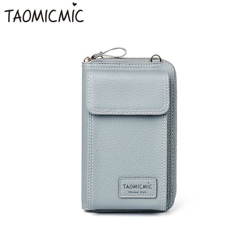 4eaa12058ea4 Новая модная кожаная однотонная женская сумка-клатч Милая длинная мини-сумка  через плечо большая емкость телефон кошелек для монет
