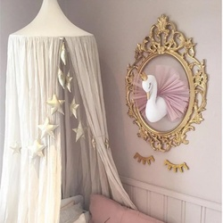 New Cute 3D Wall Hook Decor Golden Crown Swan Wall Art Hanging Girl Swan Doll Stuffed Toy Creative Animal Head Gifts For Kids