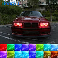 Latest Headlight Multi-color RGB LED Angel Eyes Halo Ring Eye DRL RF Remote Control for BMW 3 Series E36 1990 - 2000 4x131mm