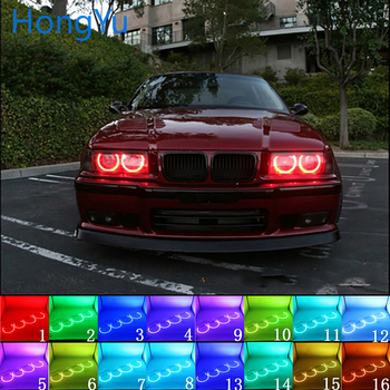 Latest Headlight Multi-color RGB LED Angel Eyes Halo Ring Eye DRL RF Remote Control for BMW 3 Series E36 1990 - 2000 4x131mm image