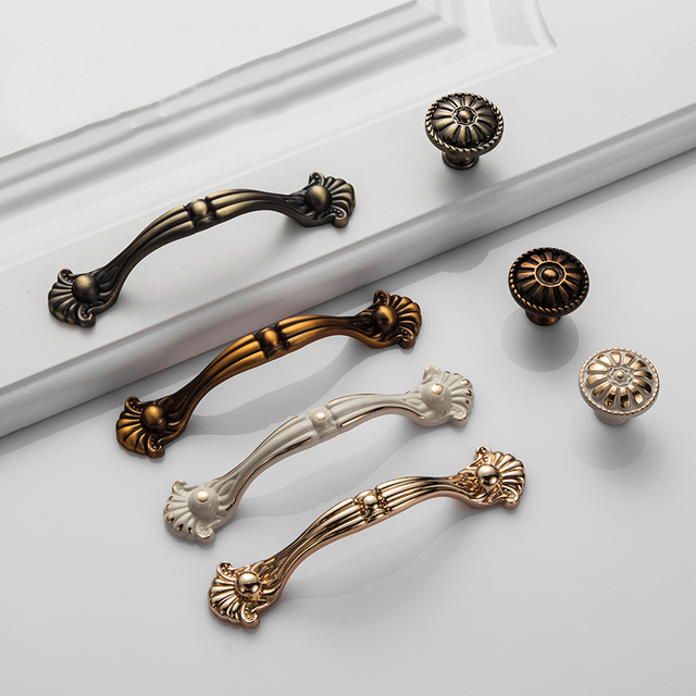 Us 1 65 40 Off Antique Door Handles Drawer Handles Doorknob Kitchen Cabinet Knobs And Handles European Furniture Hardware Ivory White In Cabinet
