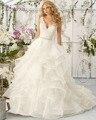 Loverxu Romântico Backless Profundo Decote Em V Ruffles A Linha de Vestidos de Casamento 2016 Luxo Apliques Beading Sashes Vestidos de Noiva Plus Size