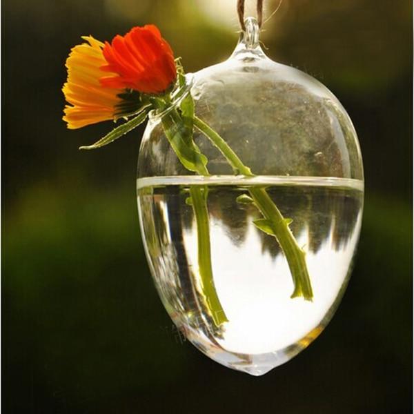 2017 Clear Egg Shape Glass Hanging Vase Bottle Terrarium Hydroponic Container Plant Flower Diy