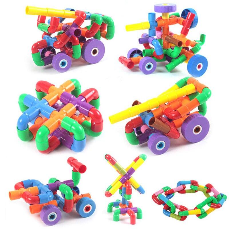 2018 Bunte Pädagogisches Wasser Rohr Bausteine Spielzeug Für Kinder Diy Montage Pipeline Tunnel Block Modell Spielzeug Für Kinder Gute QualitäT
