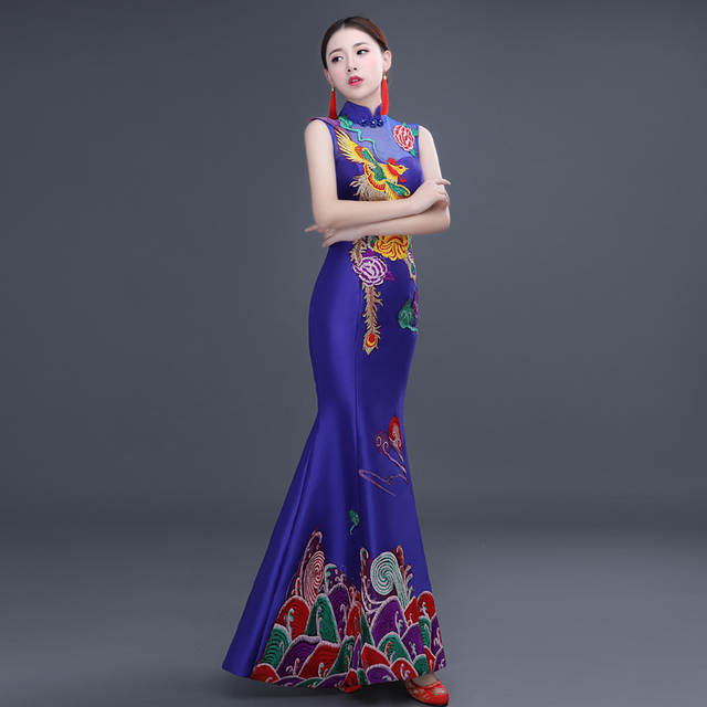 chinese traditional cheongsam wedding dress phoenix qipao chinese cheongsam  for wedding dresses gown sexy long red fd2331f6043b