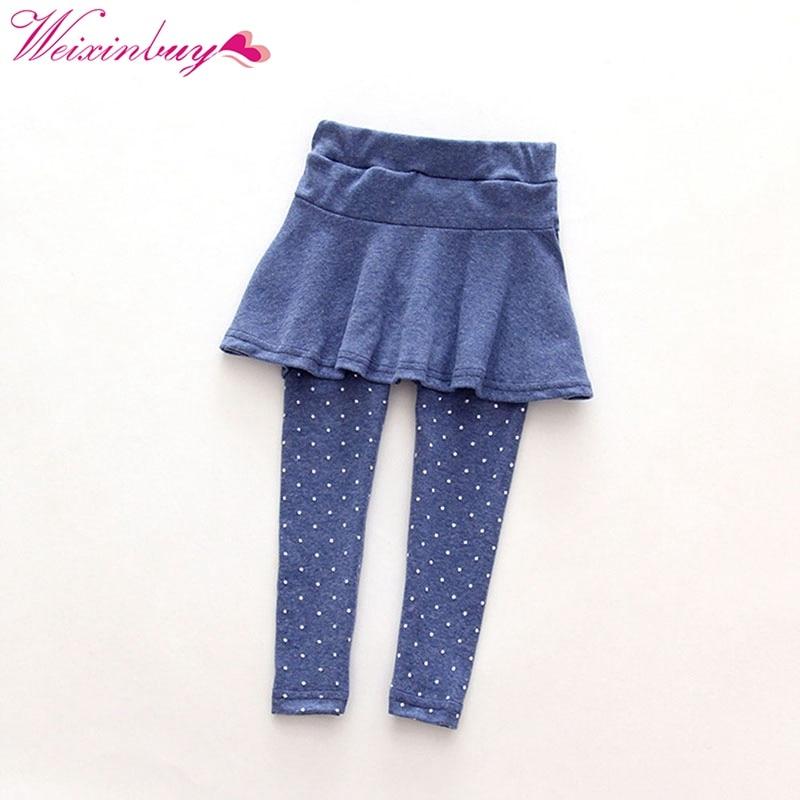 f02de3b3e WEIXINBUY Fashion Solid Colors Legging Toddler Cozy Dot Pantskirt Girl Wool  Culotte Kids Child Trousers