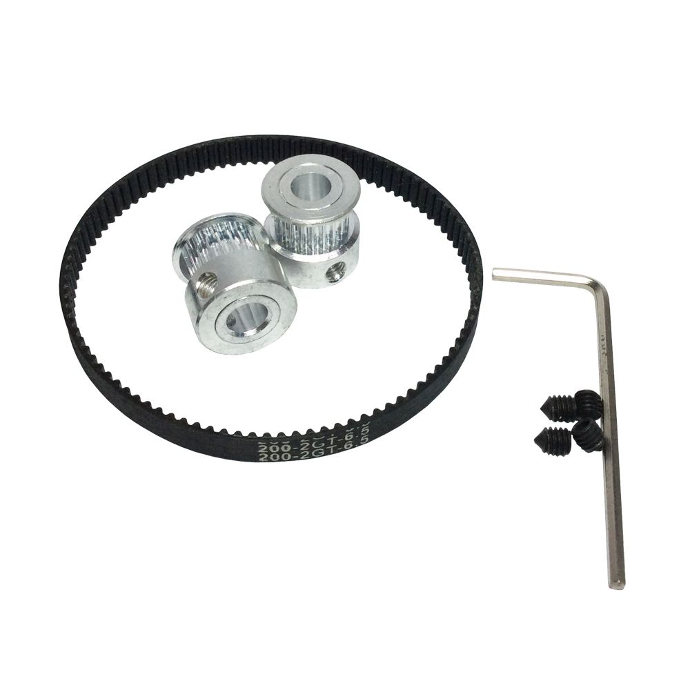 HTD GT2 Timing Belt Pulley Kit 1pcs Timing Belt Closed Loop 200mm and 2Pcs Timing Pulley 20 Teeth for Prusa Mendel 3D Printer free shipping 3d printer reprap prusa i3 movement kit gt2 belt pulley 608zz bearing lm8uu 624zz bearing