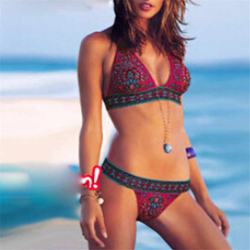 Винтажный Стиль Бикини 2019 цветочный принт комплект бикини пуш-ап купальник женский бандаж купальный костюм богемный пляжный купальник