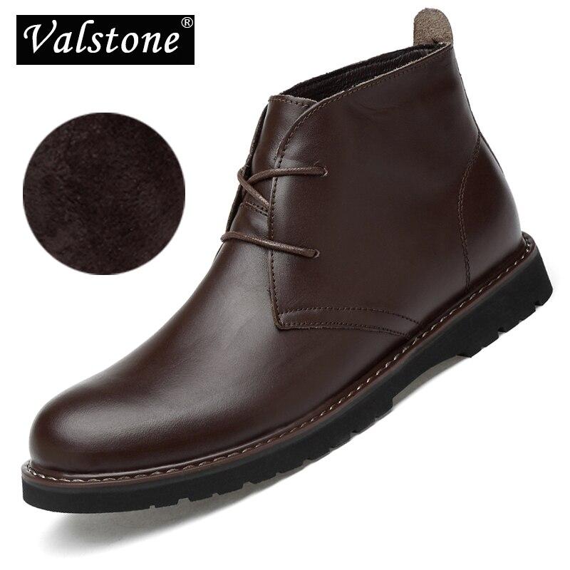 Valstone Luxury Men s Genuine Leather Boots Waterproof Snow boot High Top Footwear warm winter Shoes