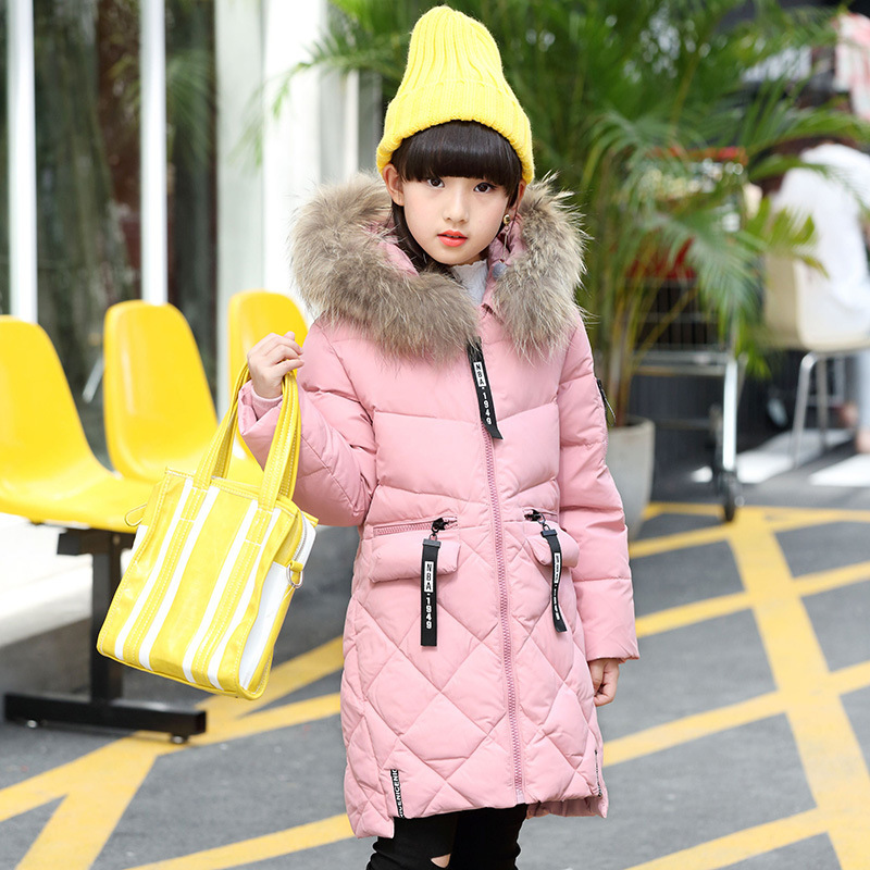 2017 Girls duck Down jackets coats Long model Fashion Baby Girl winter Coats down Warm jacket Children Outerwear with real fur teenager girls coats and jackets with fur collar hooded kids jacket winter girl skiing duck down outerwear long children clothes