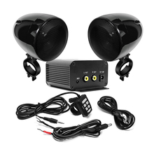 Aileap Motorcycle Audio Set with 150W Stereo 2ch Amplifier, 4 Inches Waterproof Speakers, Bluetooth, FM Radio, AUX MP3 (Black)