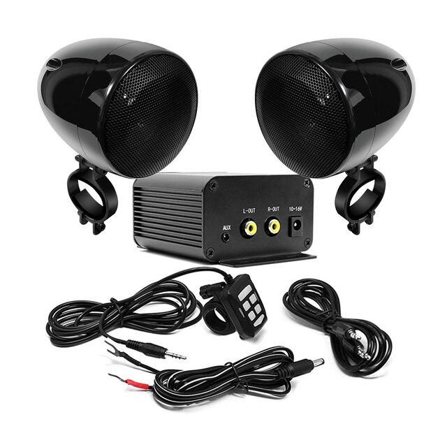 Aileap motosiklet ses seti 150W Stereo 2ch amplifikatör, 4 inç su geçirmez hoparlörler, Bluetooth, FM radyo, AUX MP3 (siyah)