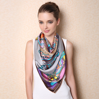 Fashion Large Size Square Silk Scarf For Women Elegant Air Conditioner Shawl High Quality 100 Mulberry