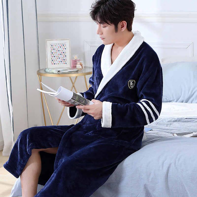 男性カジュアル着物バスローブ秋冬フランネルロングローブ厚く暖かいパジャマフル袖ネグリジェ男性カジュアルホームウェア