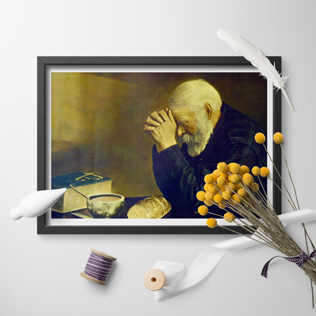 Famous Art Grace Old Man Praying Over Bread Canvas Poster Art Print
