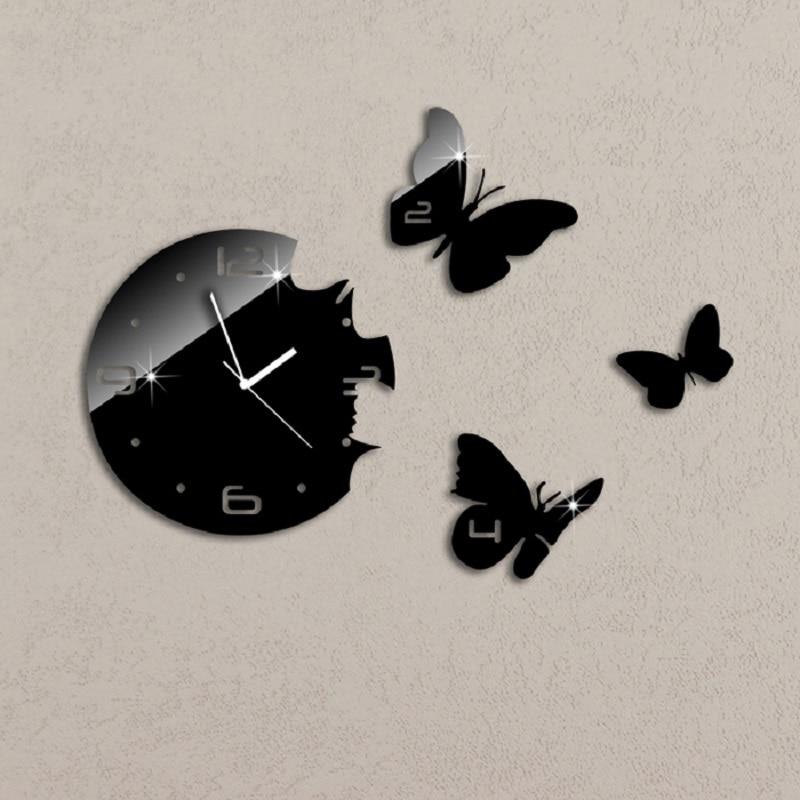 Black Rounds 3 Butterflies Art Modern Luxury  DIY Removable 3D Crystal Mirror Wall Clock Wall Sticker Living Room Bedroom Decor