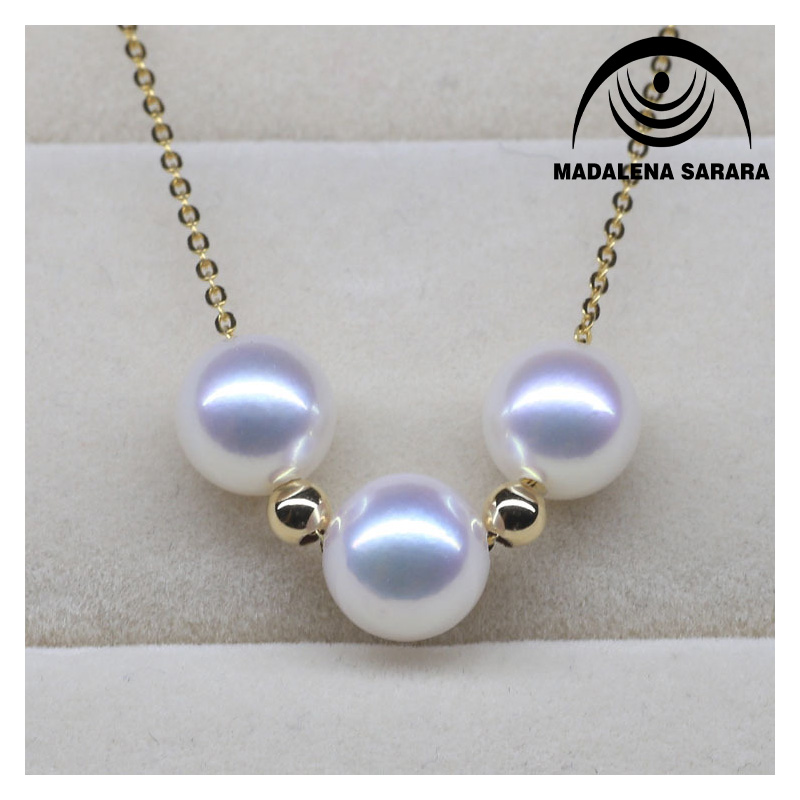 MADALENA SARARA AAA 8mm Saltwater AkoyaPearl Bead Making Sterling Silver Chain Necklace Fine Luster High Quality Perfect Round