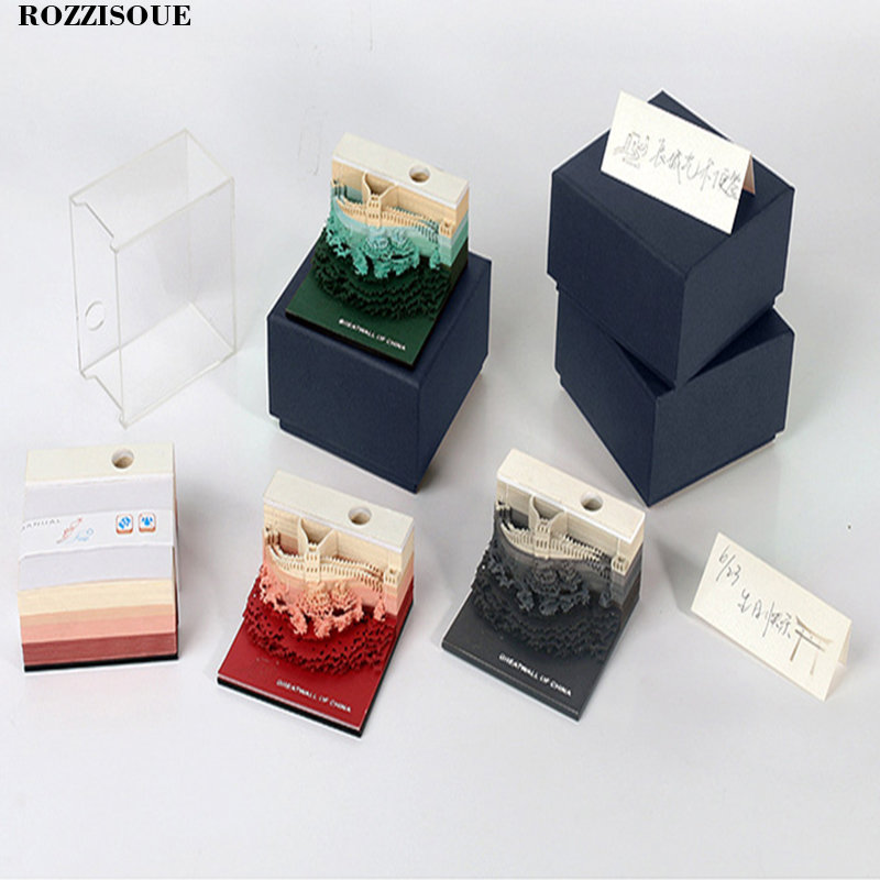 Bloc-Notes 3D grande muraille de chine bloc-Notes autocollant planificateur Notes Post It Notes fournitures de bureau Kawaii papeterie coréenne