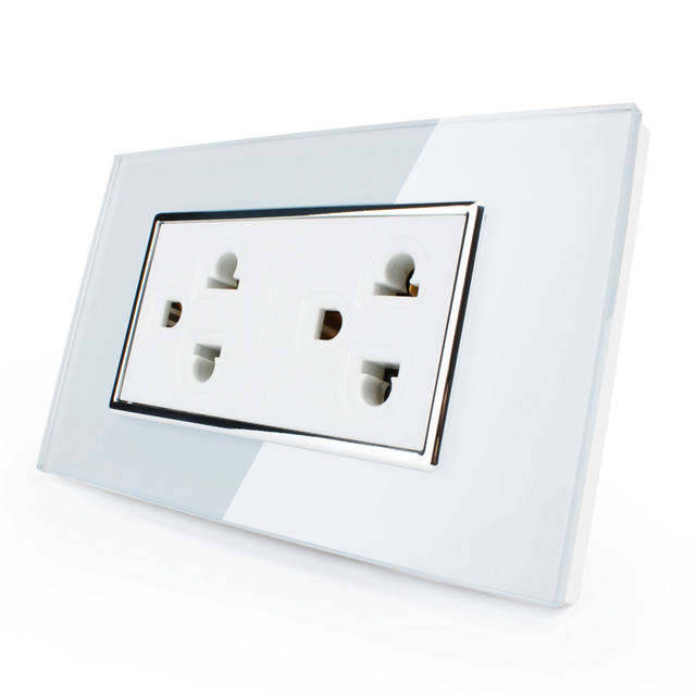 Free shipping US Luxury White Crystal Glass Socket Switch AC 110 ...