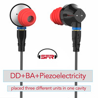 SENFER DT6 Piezoelectric Hybrid Earphone HI FI Ear Bud In Ear Stereo with Microphone Metal DJ Headset MMCX Detachable Cable