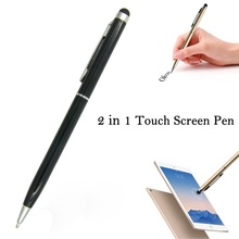 Venda quente Universal 2 em 1 Tablet Capacitive Stylus Pen Com bola ponto caneta de microfibra touch screen pen para iphone para samsung(China)