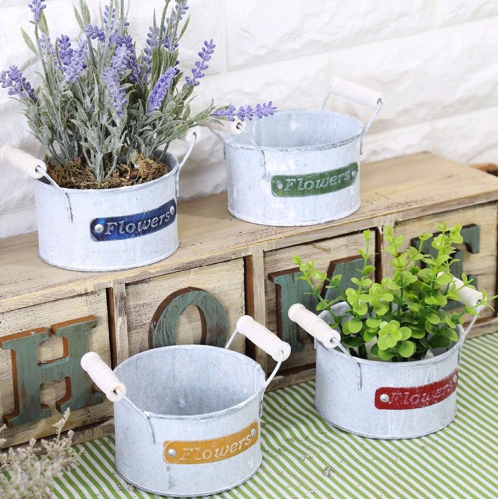 Delightful Hanging Plant Pots Online Part - 10: American Country Retro Contracted Tin Flower Pot 1PC Handle Ears Metal Hanging  Planters Garden Pots 12