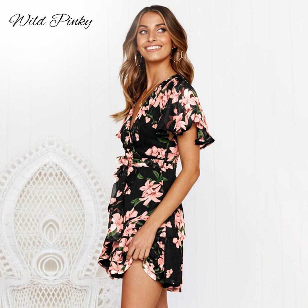 WildPinky Women Dress 2019 Summer Sexy V neck Floral Print Ruffles Chiffon Dress Boho Style Short Party Beach Dresses Vestidos in Dresses from Women 39 s Clothing