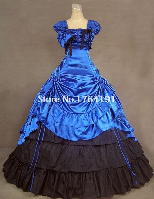 High Quality Blue and Black Sleeveless Southern Belle Civil War Ball ...