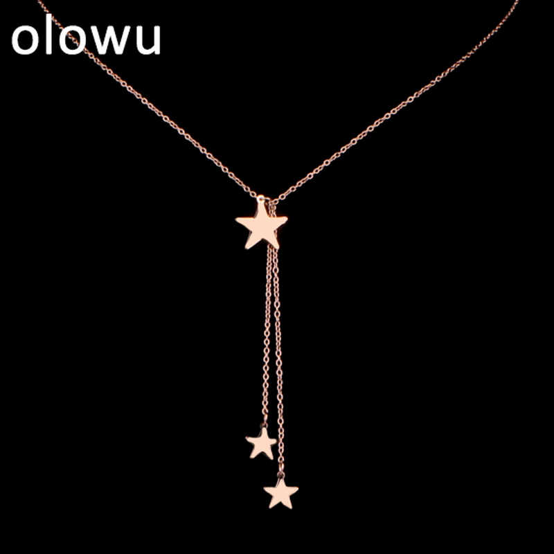 olowu Beauty Charm Women 3 Star Necklace Stainless Steel Choker Long Pendant Chain Necklace Custom Fantastic Rose Gold Jewelry