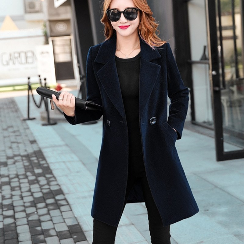 Korean Style Men/'s Slim Woolen Coat Maxi Long Buttons Outwear Warm Trench Coat