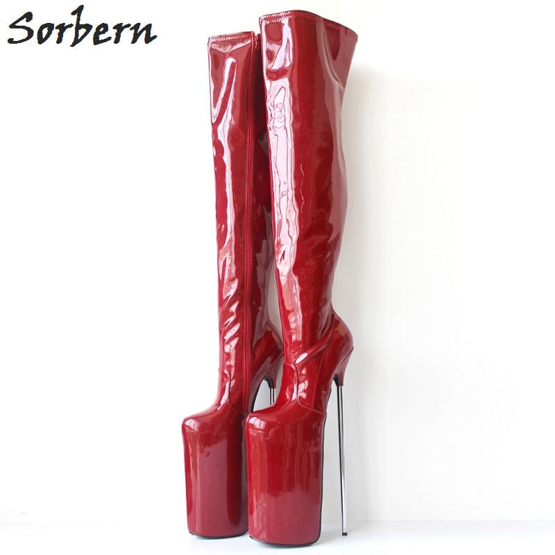 Sorbern 18Cm Stiletto High Heels Boots Women Over The Knee Hard Shaft Zip Gold Piping Thigh High Boot Women Patent Black Custom