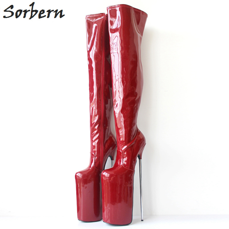 Sorbern Sexy 30cm Extrem High Heels Over the Knee Boots Unisex Ladies Shoes Metal Heeled Custom Color Nightclub Boots Thigh High sorbern extrem high heel strange style wedges thigh high boots designer platform boots long custom shoes women plus size 4 15