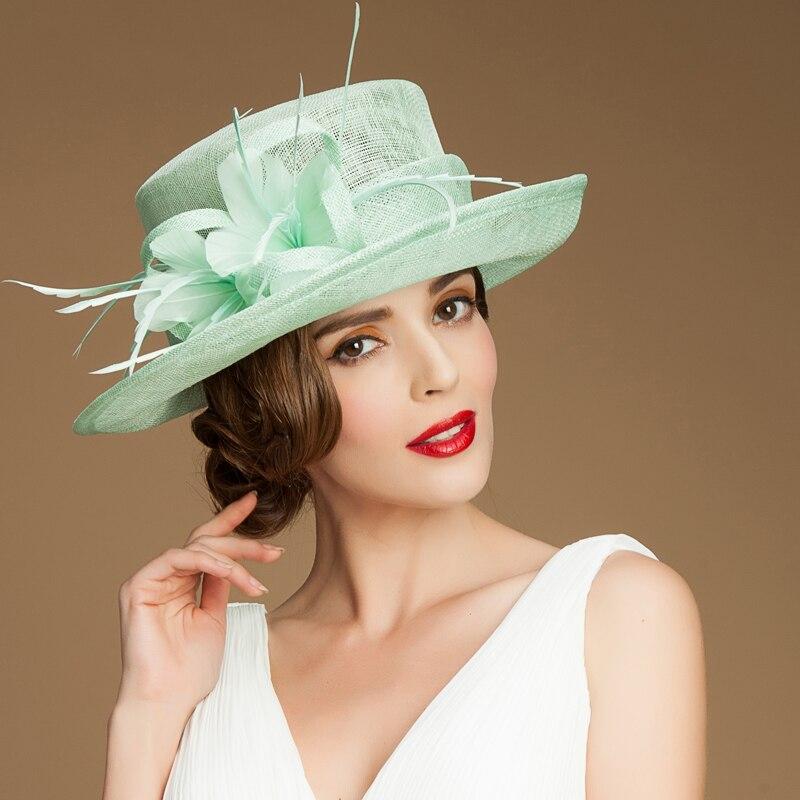 Aristocracia británica Organza de lujo sinamay sombreros para mujer las  señoras de la boda iglesia sombreros del sol de ala ancha sombrero femenino  fiesta ... 894c3f11eed