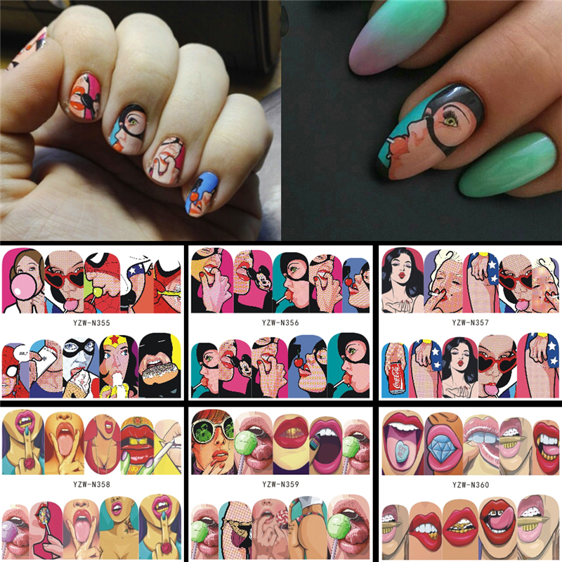 6 Designs in 1 Nail Sets Fashion Sticker Full Cover Lips Cute Printing Water Transfer Tips Nail Art Decorations 2019 New